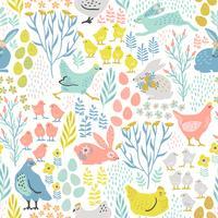 Vektor sömlöst mönster med kaniner och kyckling för påsk och andra användare