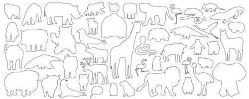 Große Reihe von Doodle-Cartoon isolierte afrikanische amerikanische Waldtiere Symbole. Vektor Umriss Tiger Löwe Nashorn Büffel Zebra Elefant Giraffe Krokodil Tapir Nilpferd Bär Orang-Utan Pinguin Flamingo tap