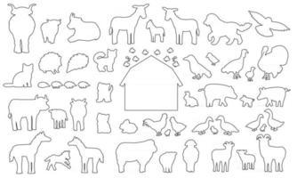 große Reihe von Doodle Silhouette Cartoon Nutztiere Symbole. Vektorsammlung Esel Gans Kuh Stier Schwein Schwein Huhn Henne Hahn Ziege Schaf Ente Pferd Truthahn Katze Hund Igel Kaninchen Hase Vögel vektor