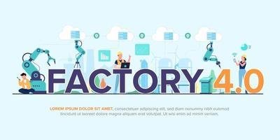 Smart Factory Betrieb von Mechanik und Prozess mit Technologie 4.0 vektor