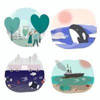 Umweltverschmutzung ist giftig durch Abfall macht Wassertiere gefährlich vektor