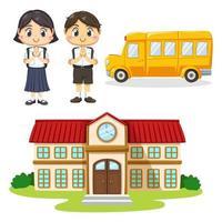 Satz Kinder in Studentenuniform zurück zur Schule vektor