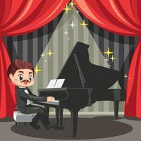 toller klassischer Musiker auf der Bühne mit Flügel vektor