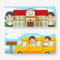 Banner von thailändischen Kindern in Studentenuniform zurück zur Schule vektor