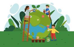 Happy Earth Day und Weltumwelttag erneuerbare Energien vektor