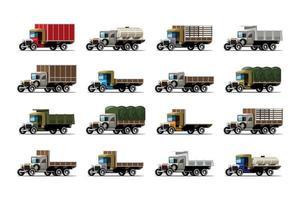 Set aus zwölf Trucks und Tankdifferenz im antiken Design vektor