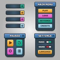 Spiel dunkle Benutzeroberfläche und bunte Tasten eingestellt buttons vektor