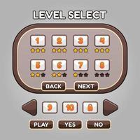 Spielebene wählen Sie die Benutzeroberfläche und die Schaltfläche aus vektor