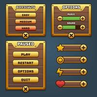 Spielholz und Gold-UI-Menü vektor