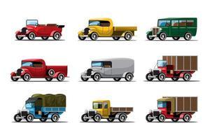 Set aus drei Typen von Arbeitswagen im Vintage-Design vektor