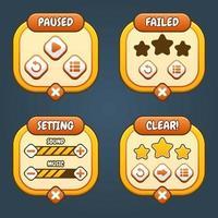 Orange niedliches Spiel-UI-Menüoptionsset vektor