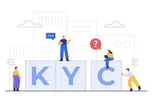 kyc bedeutet kennen Sie Ihren Kunden, was der Authentifizierungsprozess ist vektor