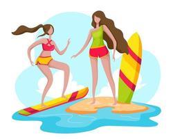 Eine junge Frau und ihre Freundin im Urlaub kamen am Strand an und bereiteten sich auf ein Bad im Meer vor. Sie entschied sich, ein Surfbrett zu spielen. vektor