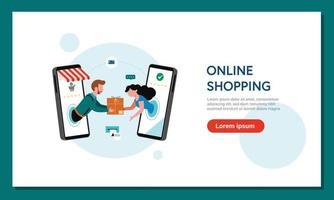 Online-Shopping-Banner, Vorlagen für mobile Apps, flaches Design des Konzepts vektor