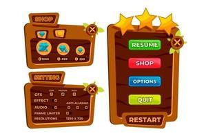 kompletter Satz von Level-Button-Spiel-Pop-ups, Symbolen, Fenstern und Elementen zum Erstellen mittelalterlicher RPG-Videospiele vektor