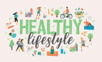 Hälsosam livsstil. Vektor illustration.