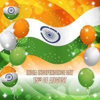 Indien-Unabhängigkeitstag-Hintergrund mit Flaggen- und Ballonzusammensetzung vektor