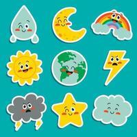 niedliche Cartoon-Wetterfiguren posieren vektor