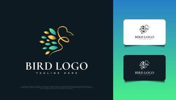 Luxus-Vogel-Logo-Design in Blau und Gold vektor