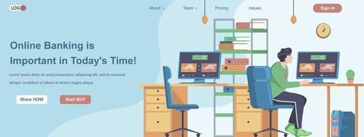 Online-Banking ist wichtig im heutigen Webbanner-Konzept vektor