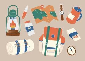 Ausrüstung zum Campen benötigt. minimale Vektorillustration des flachen Designstils. vektor