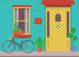 bakgrund med gul dörr och cykel på blå vägg. vektor