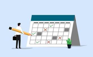 Geschäftsmann, der den Zeitplan auf dem riesigen Kalender ausfüllt. Work in Progress und Zeitmanagementkonzept. vektor