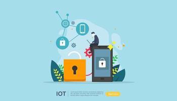 iot Smart House-Überwachungskonzept für industrielle 4.0-Heimtechnologie auf dem Laptop-Bildschirm von Internet of Things Connected Objects. Web-Landing-Page-Vorlage, Banner, Printmedien. Vektor-Illustration vektor