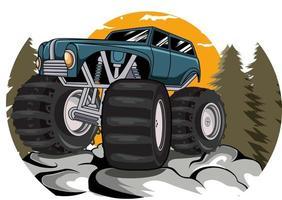 Monster Truck im Blick Berge Vektor