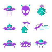 UFO-Icon-Set vektor