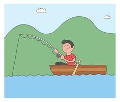 Cartoon-Mann Angeln mit Haken im Boot See oder Meer-Vektor-illustration vektor