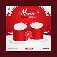 indonesiens självständighetsdag specialmat meny marknadsföring banner mall vektor