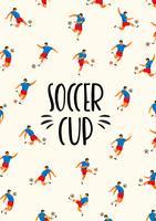 Fußball-Pokal Vektorschablone mit Fußballspielern. vektor