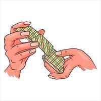 Glücksspiel. Spielkarten in der Hand. Casino, Glück, Fortuna. Karten mischen. vektor