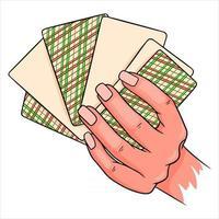 Glücksspiel. Spielkarten in der Hand. Casino, Glück, Fortuna. sechs Karten verdeckt. vektor