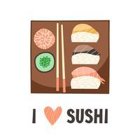 Sushi. Japansk mat sushi rulle vektor illustration.