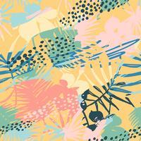 Nahtloses exotisches Muster mit tropischen Anlagen und künstlerischem Hintergrund.