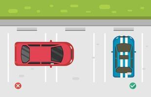 falsche und richtige parkende autos auf dem parkplatzillustrationsvektor vektor