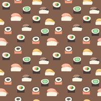 Sömlöst mönster med olika typer av sushi. vektor