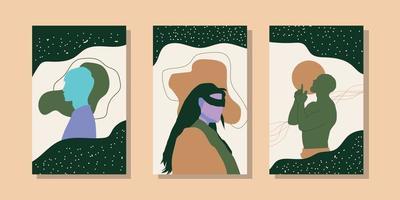 trendige minimalistische abstrakte landschaftsillustrationen. Reihe von handgezeichneten zeitgenössischen künstlerischen Postern. vektor