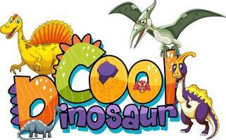 niedliche Dinosaurier-Cartoon-Figur mit coolem Dinosaurier-Schriftart-Banner vektor