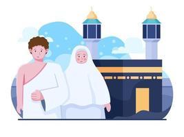 flache illustration von hajj und umrah reisen islamische religionstradition muslimische person, die in kaaba, mekah, saudi-arabien betet. kann für Banner, Poster, Web, Buch, Flyer verwendet werden. vektor