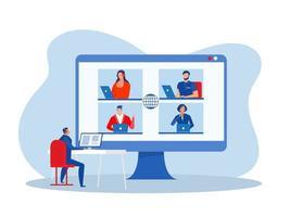 Business-Online-Konferenz zu Hause Business-Webinar. Geschäftsmann Video-Chat. Gruppe auf dem Monitor völliges Vektorkonzept vektor
