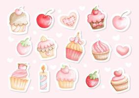 Cupcake-Aquarell-Aufkleber, Cupcakes für Geburtstagskarte. Aquarell-Vektor-Illustration vektor