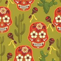 Vektor sömlöst mönster med traditionella mexikanska symboler.