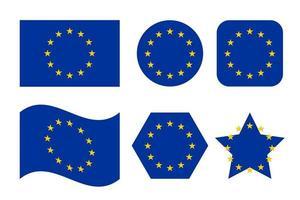 Flagge der Europäischen Union mit blauem Hintergrund und gelben Sternen vektor