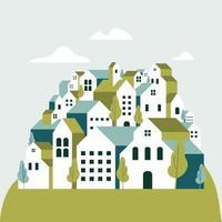 flache geometrische gebäude, minimale grüne stadtlandschaft im flachen stil. vektor