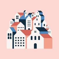 flache geometrische gebäude, minimaler flacher stil der stadtlandschaft. vektor