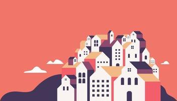 flache geometrische Gebäude, minimale Stadtlandschaft im flachen Stil. vektor