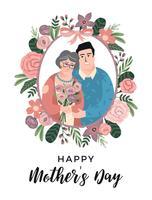Schönen Muttertag. Vektorillustration mit Mann, Frau und Blumen.